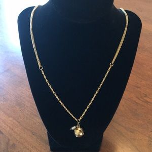 Jewelry - Lia Sophia Goldtone, crystal & gray pearl necklace